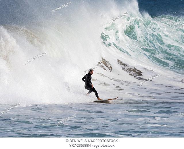Surfing action. Mundaka, Spain