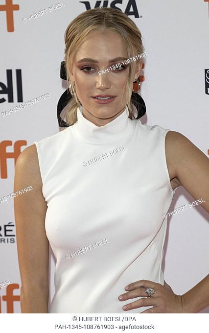 Maika Monroe attends the premiere of 'Greta' during the 43rd Toronto International Film Festival, tiff, at Ryerson Theatre in Toronto, Canada