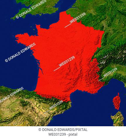 Highlighted satellite image of France