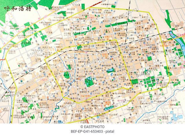 A map of Huhhot,Inner Mongolia,China