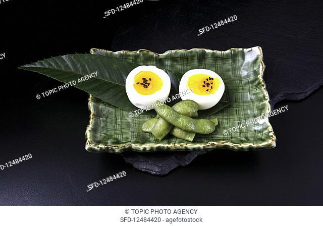 Boiled egg and edamame (Korea)