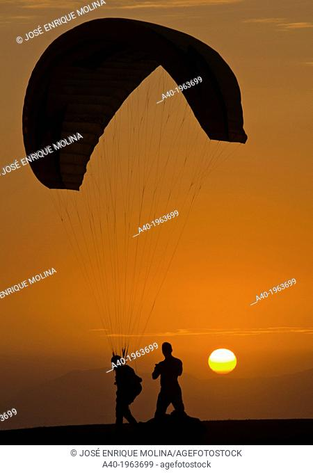 Practicing paragliding on the waterfront of Miraflores district. Lima city. Peru