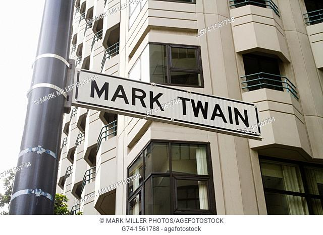 Mark Twain Street Sign, Architecture, buildings, downtown, San Francisco, California, USA