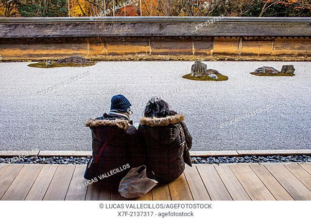 Zen garden in Ryoanji temple,UNESCO World Heritage Site,Kyoto, Japan