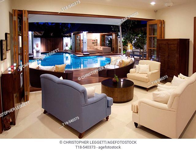 interior of villa and swimming pool