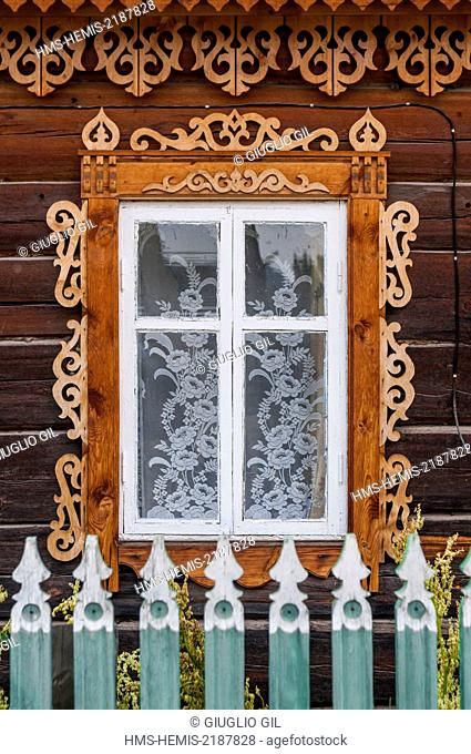 Russia, Siberia, Lake Baikal listed as World Heritage by UNESCO town of Kuzhir on Olkhon island, traditional hut house