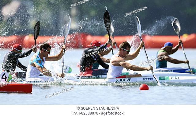 Sebastien Jouve and Maxime Beaumont of France in action during the Men's Kayak Double 200m Heats of the Canoe Sprint events of the Rio 2016 Olympic Games at...