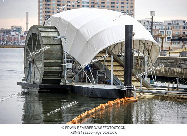 Solar Powered Water Wheel Trash Interceptor in Baltimore Harbor, Maryland, USA, invented by John Kellet