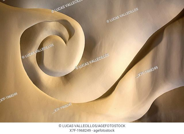 Architectural detail of the ceiling, in Cafe of Casa Mila, La Pedrera, Barcelona, Catalonia, Spain
