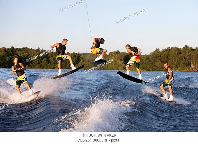 Wakeboarder performing 360 trick