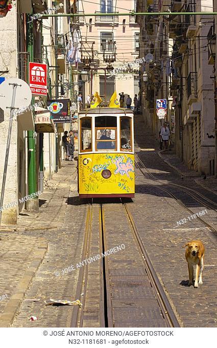 Lisbon, Elevador da Bica Bica cable car, Bairro Alto, Rua da Bica de Duarte Belo, Portugal  Europe