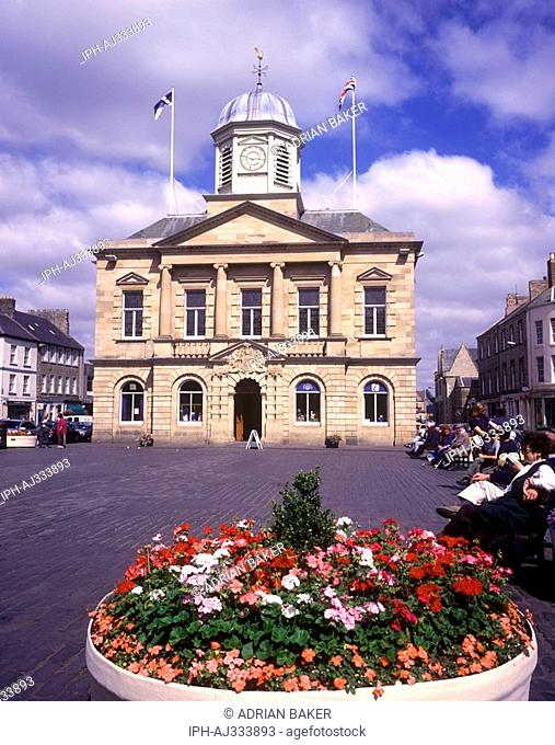 The Town House 1816 in the wide cobbled square in Kelso. The Borders town stands on the River Tweed near the Cheviot Hills