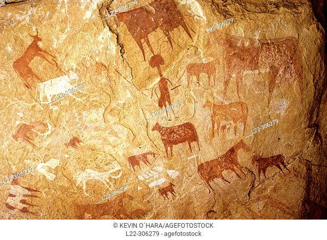 Prehistoric cave paintings. Archai. Ennedi. Sahara Desert. Chad