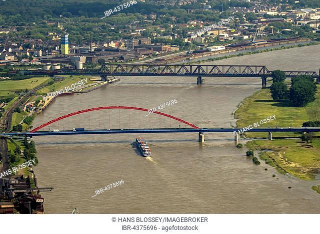 Aerial view, Cargo ship on the Rhine during flood, the bridge of solidarity, Brücke der Solidarität, IWT, Duisburg, Ruhr district, North Rhine-Westphalia
