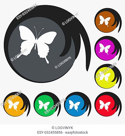 butterfly icon sign. Symbol on eight colored buttons. illustration