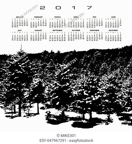 A 2017 calendar with a snow covered pine forest in black and white