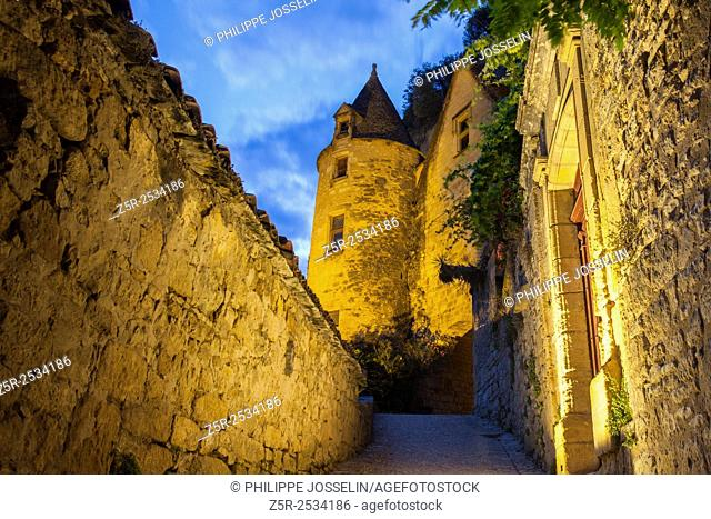 Streets of a village classified among one of the most beautiful in France, La Roque-Gageac, Dordogne, Aquitaine, France