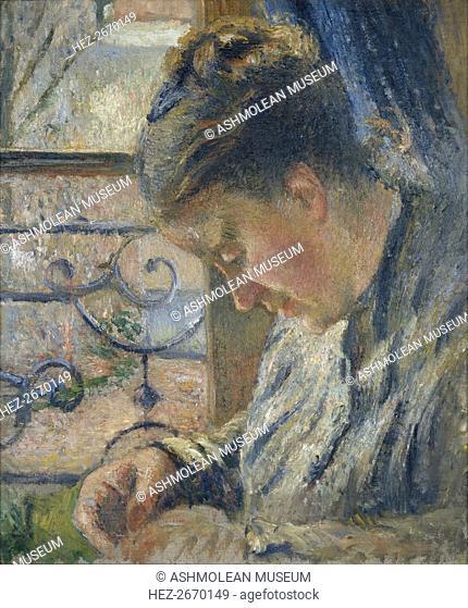 Mme Pissarro sewing beside a Window, c1877. Artist: Camille Pissarro