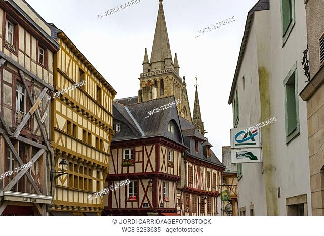 AURAY, BRITTANY, FRANCE - JULY 2015:, BRITTANY, FRANCE: View of the wooden houses in the historic center of Auray