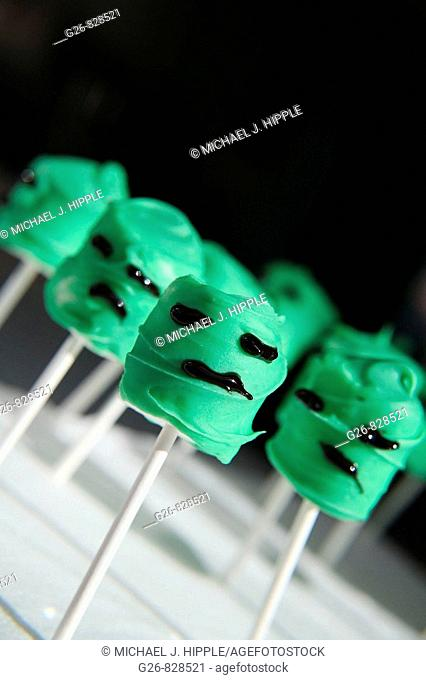 Chocolate-covered marshmallows decorated to look like monsters for Halloween