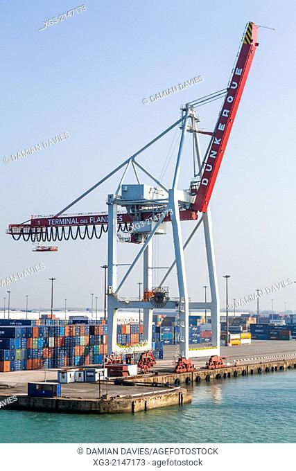 Containers and container loading cranes at the Terminal des Flandres, Dunkerque (Dunkirk), France