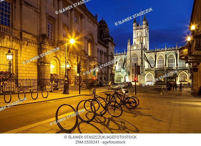 Evening at Bath Abbey and Guildhall in Bath, Somerset, England