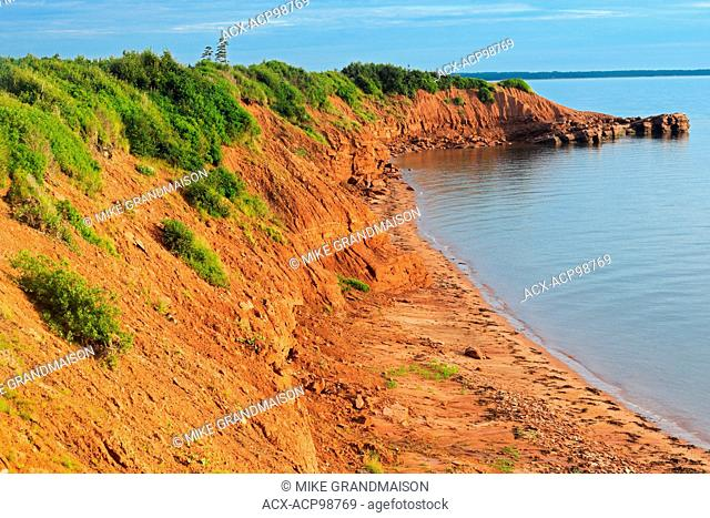 Iron rich red soil along the Northumberland Strait Cape Bear Prince Edward Island Canada