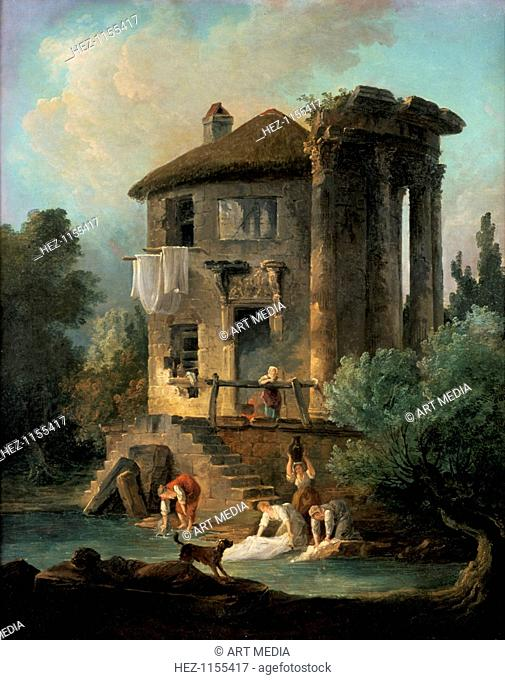 'The Temple of Vesta at Tivoli', Rome, 1831. From the Musee des Beaux-Arts, Angers, France