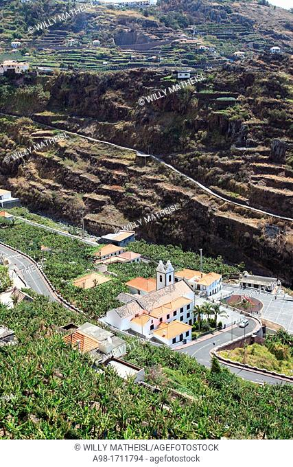 view from above at the church of Tabua, Madeira, Portugal, Europe