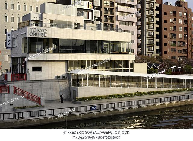 Tokyo cruise Terminal on Sumida river in Asakusa area of Tokyo, Japan, Asia