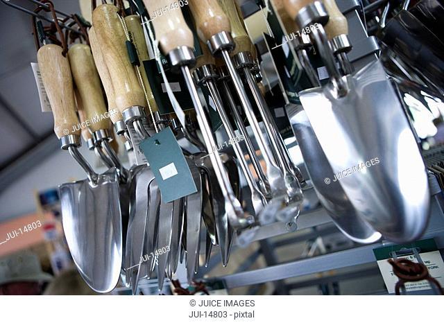 Gardening tools in shop