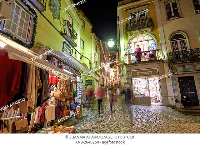 Citycapes of Sintra at night, Portugal, Europe