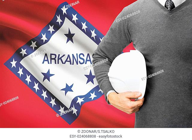 Engineer with flag on background series - Arkansas