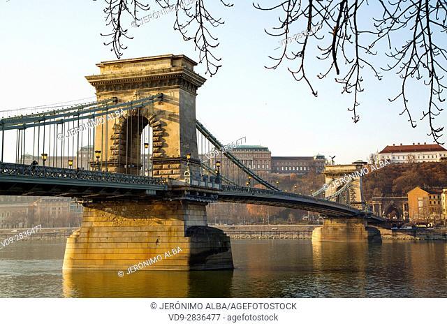 Chain Bridge over the Danube river, engineer William Tierny Clark. Budapest Hungary, Southeast Europe
