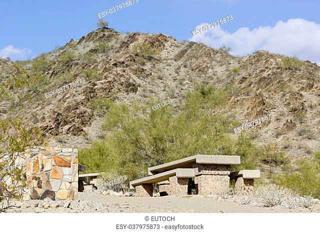 Picnic area in Northern Mountain park, Phoenix, AZ