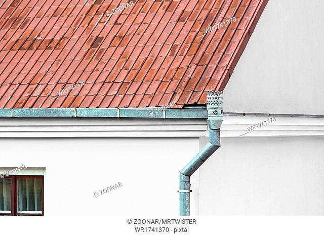 Old metal roof gutter