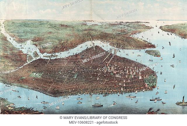 The city of greater New York. Bird's-eye view of greater New York with Battery Park on the right and showing the boroughs of Bronx, Queens, Manhattan, Brooklyn