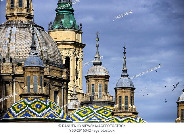 Cupolas of famous Catedral-Basílica de Nuestra Señora del Pilar de Zaragoza, Cathedral-Basilica of Our Lady of the Pillar