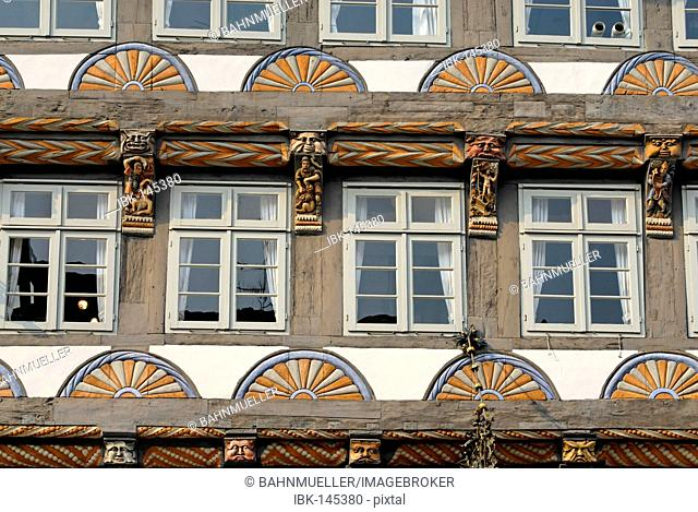 Hameln Hamelin at the Weser Lower Saxony Germany framework and decoration in the old town Osterstreet