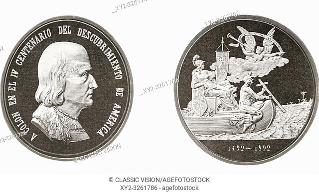 Commemorative medal celebrating the 400 year anniversary of Columbus's discovery of America in 1492. From La Ilustracion Espanola y Americana, published 1892