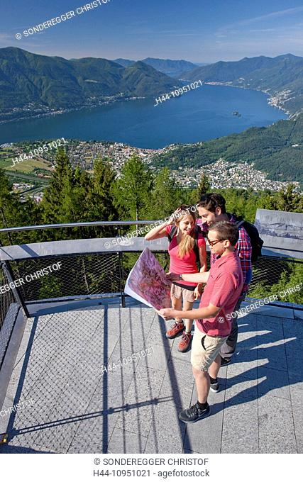 Switzerland, Europe, canton, TI, Ticino, Southern Switzerland, mountain, mountains, lake, walking, hiking, view, Locarno, Cardada, view platform, view