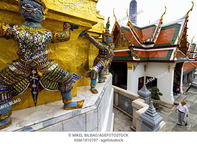 Warriors statues  Wat Phra Kaew or Temple of the Emerald Buddha  Grand Palace  Bangkok, Thailand