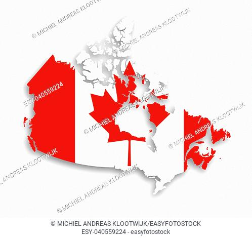 Canada map with the flag inside, isolated