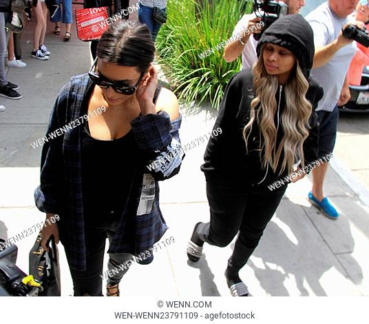 Kim Kardashian, Rob Kardashian, and Blac Chyna leaving Nate n Al's after having lunch together Featuring: Kim Kardashian, Blac Chyna Where: Beverly Hills