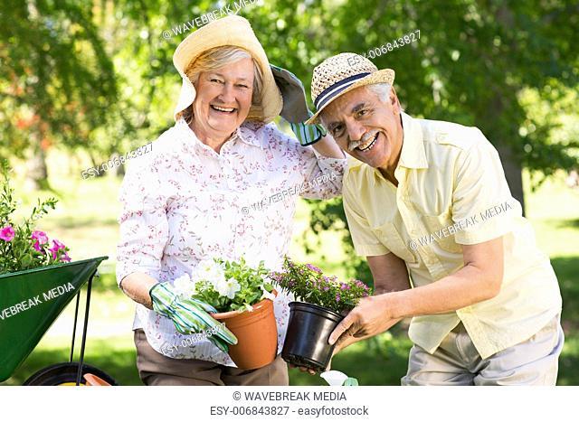 Happy senior couple gardening