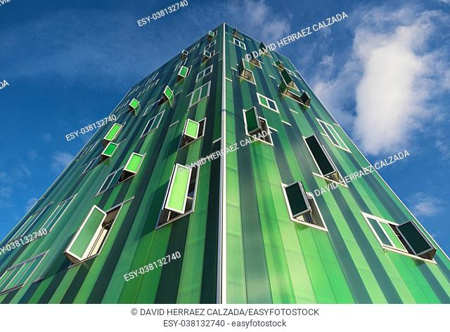 Madrid, Spain: Detail of the facade of a green modern residential building in Vallecas district, in Madrid, Spain