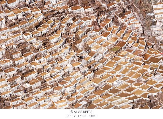 Family owned salt ponds in Sacred Valley near Urubama; Maras, Cusco, Peru
