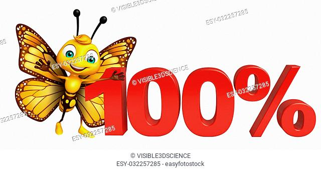 3d rendered illustration of Butterfly cartoon character with 100% sign