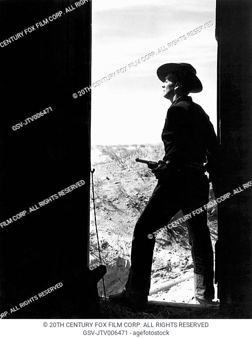 Victor Mature, on-set of the Film My Darling Clementine, 1946, 20th Century Fox Film Corp. All rights reserved