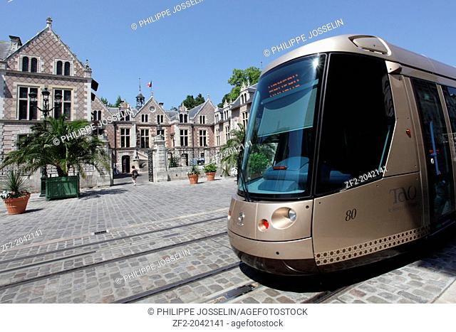 France, Loiret, Orléans, the tramway in the historic center of the town. The Hôtel Groslot at the back